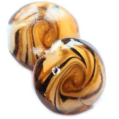 lampwork beads marine breeze drop brown 20 mm