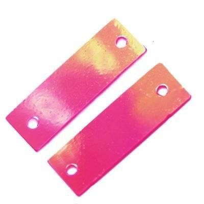 sequins cream - rainbow rectangles pink 6 x 19 mm