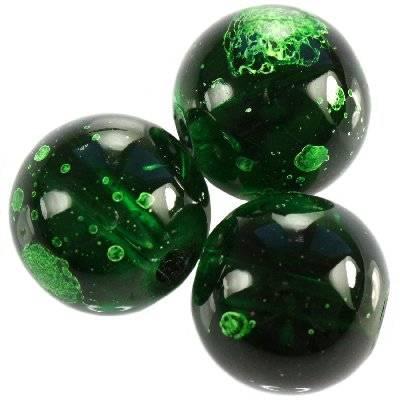 glass beads galactic transparent emerald 14 mm