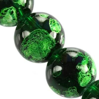 perles de verre émeraude galactique transparent 14 mm