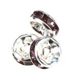 SparkleRings™ silver amethyst 6 mm rhinestone spacer bead