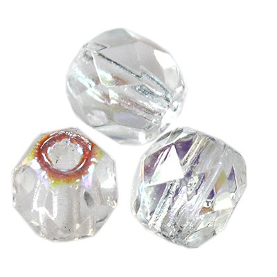 Fire Polish 3mm crystal ab koraliki fasetowane