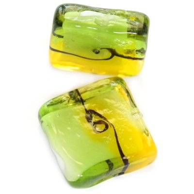 lampwork beads rough waves squares yellow green 20 x 20 mm