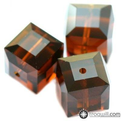Swarovski cube beads mocca 6 mm