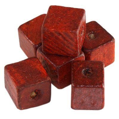 perline in legno cubetti rossi 12 mm