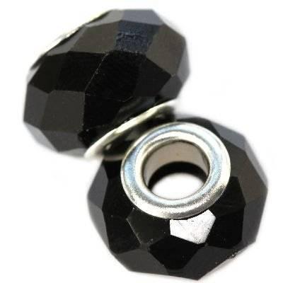 koraliki modułowe kryształowe czarne 10 x 14 mm