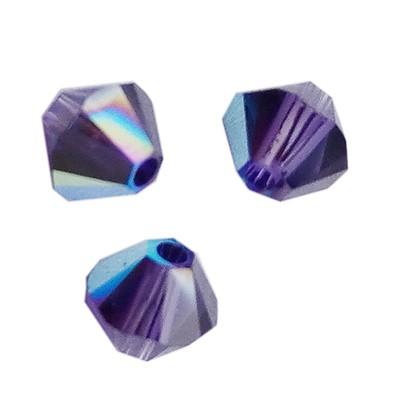 Swarovski bicone beads purple velvet AB 4 mm