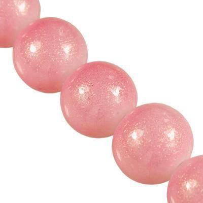 Perles Gold Powder classique néon rose 10 mm