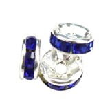 SparkleRings™ silver blue 6 mm rhinestone spacer bead