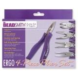 Beadsmith ergo 4-piece plier set/cs purple w/purple lapjoint
