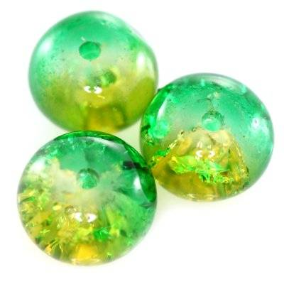 crackle beads rondell green 8 x 5 mm