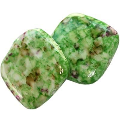 quadrato in plastica ricercate verde - nere  17 x 17 mm