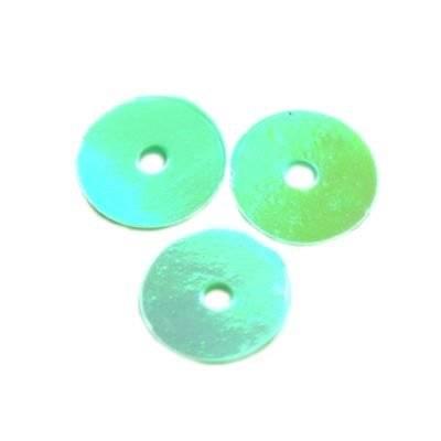 cekiny kremowo - tęczowe koła gładkie zielone 8 mm