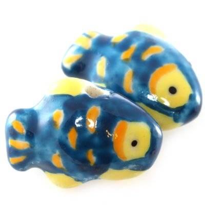 pesciolini in porcellana blu 13 x 18 mm