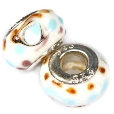 modular beads blue spots on white 9 x 14 mm