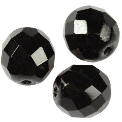 Czech Fire Polished beads 10mm round black