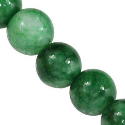 jade beads green 12 mm / semi-precious stone dyed
