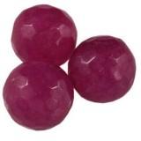 jadeit fasetowany fuksja 10 mm kamień naturalny barwiony