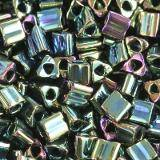 Toho beads triangle metallic iris - green/brown 2 mm TG-11-84