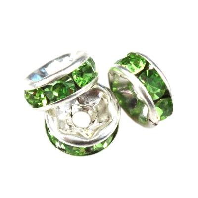 SparkleRings™ kolor srebrny zielone 6 mm przekładki jubilerskie rhinestone