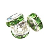 SparkleRings™ silver green 6 mm rhinestone spacer bead