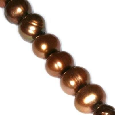 perełki słodkowodne 6-7 mm brązowe