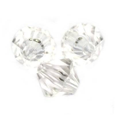 plastic bicone beads transparent 6 mm