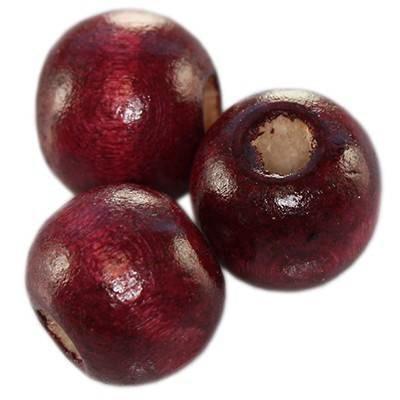 perles rondes en bois bourgognes 11 x 12 mm