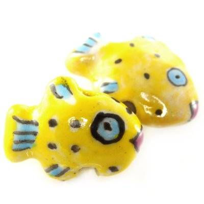 rybki porcelanowe żółte 13 x 18 mm