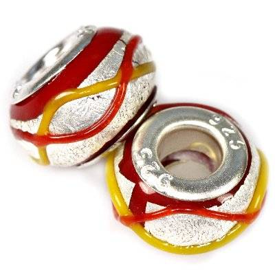 modular beads silver color with strips on red 9 x 14 mm