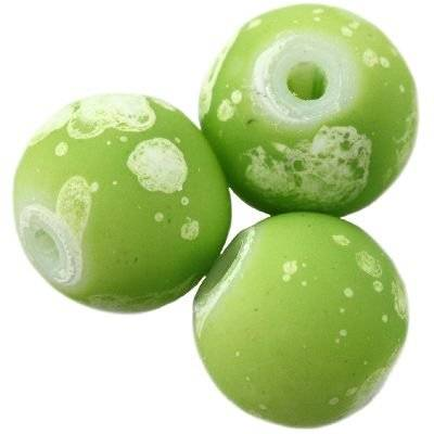 glass beads rubber coated galactic green 4 mm