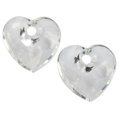 faceted transparent heart beads 26 x 26 mm