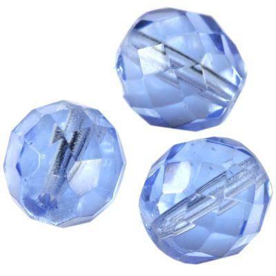 Firepolish 10mm facettes Rondes light blue Tchèque Perles de Verre