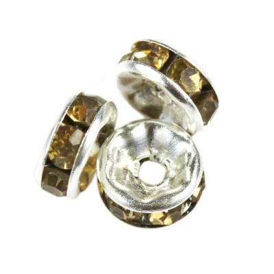 SparkleRings™ kolor srebrny brązowe 6 mm przekładki jubilerskie rhinestone