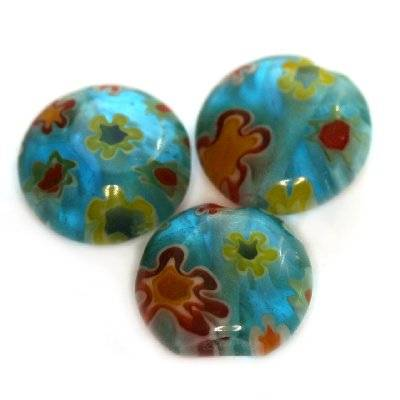 coins turquoise millefiori flowers