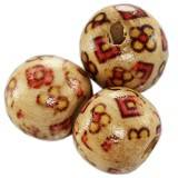 perles rondes en bois carrés et fleurs 12 mm