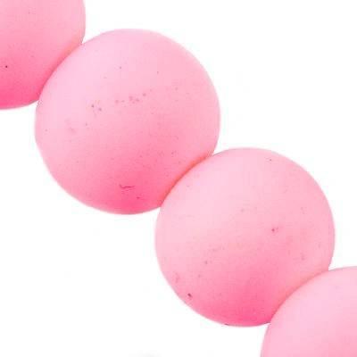 Perles de verre enrobées de caoutchouc Różowe 10 mm