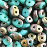 Koraliki SuperDuo luster coating green mat 2,5 x 5 mm / koraliki dwudziurkowe
