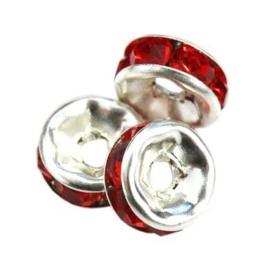 SparkleRings™ kolor srebrny czerwone 6 mm przekładki jubilerskie rhinestone