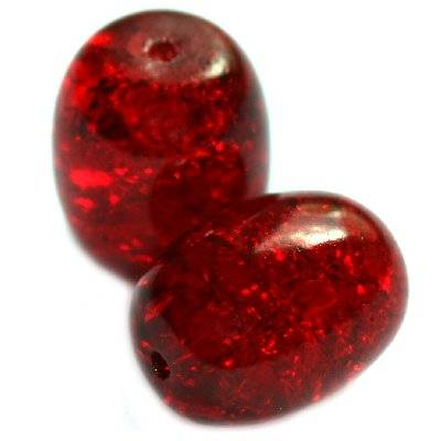 perles de crépitement ovales rouges 12 x 16 mm