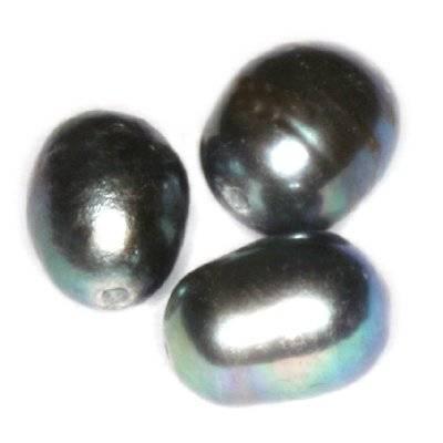 perełki słodkowodne 4 x 6 mm stalowe