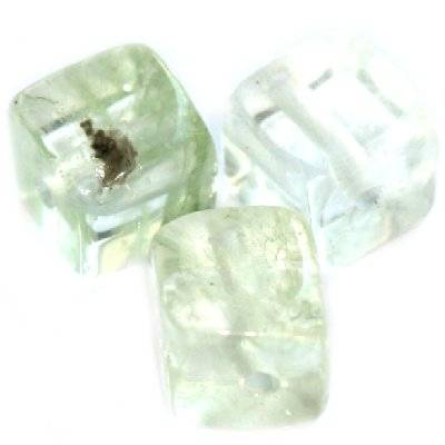 moss quartz green cube 8 mm / semi-precious stone synthetic