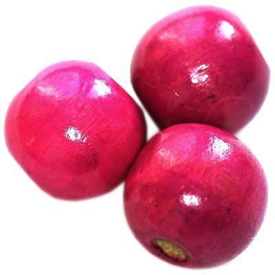 perles rondes en bois roses 13 x 14 mm