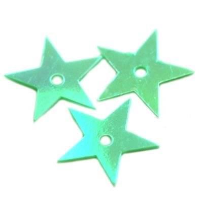 cekiny kremowo - tęczowe gwiazdki zielone 13 mm