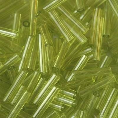 stiklo karoliukai vamzdeliai miško žalia 9 mm