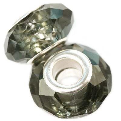 koraliki modułowe kryształowe antracytowe 10 x 14 mm
