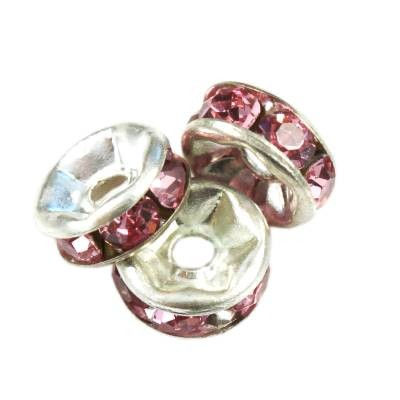 SparkleRings™ kolor srebrny różowe 6 mm przekładki jubilerskie rhinestone