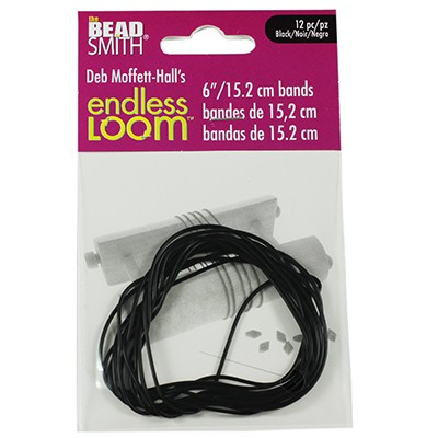 endless loom bands 6 inch black