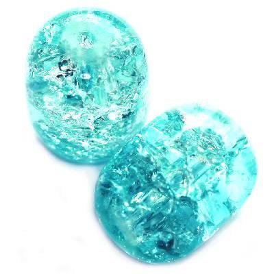perles de crépitement ovales bleu 12 x 16 mm
