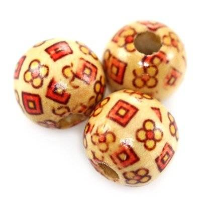 round wooden beads squares and flowers 16 mm